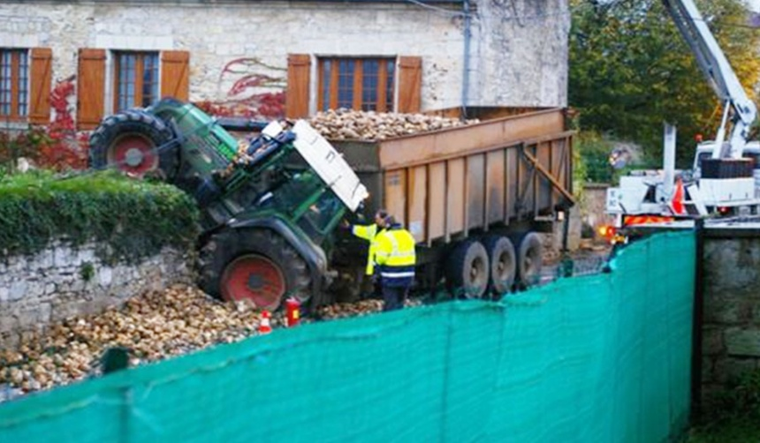 Überladene Traktorreifen